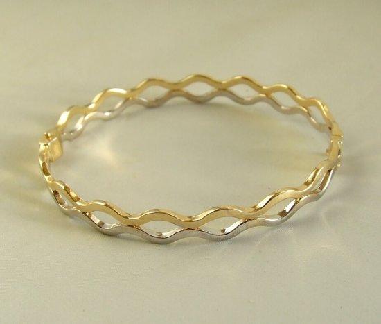 14 karaat geel- en wit gouden bangle