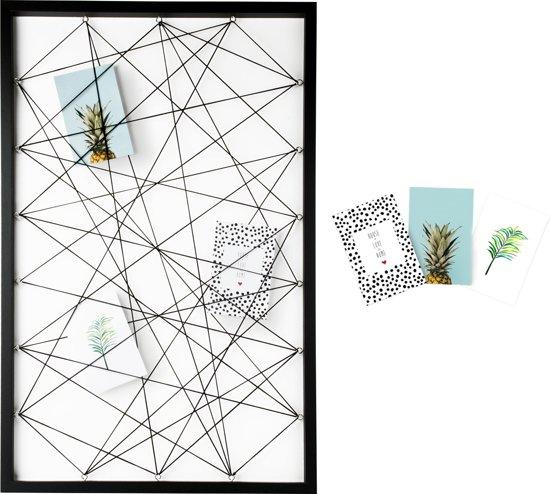 Dresz Fotolijst met Elastieken voor Collage   Inclusief 3 Trendy Kaarten   50 x 78 cm   Zwart   Hout