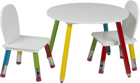 2 Stoelen En Tafeltje.Kindertafel Kleuterset Tafeltje Met Twee Stoelen Potlood Design Hout