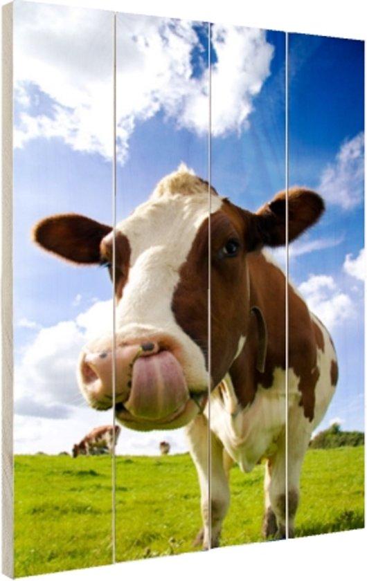 Koe steekt tong uit Hout 60x80 cm - Foto print op Hout (Wanddecoratie)