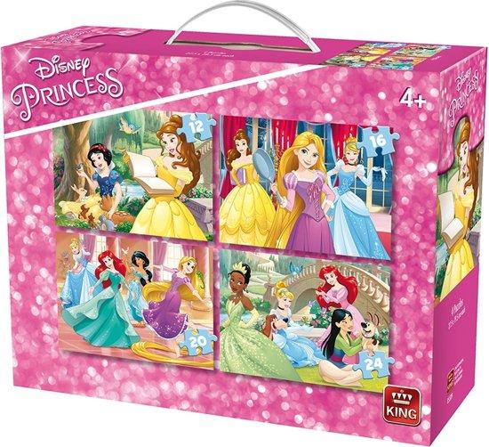 King - Disney 4-in-1 Puzzel Prinsessen - Vier Kinderpuzzels in een Koffertje