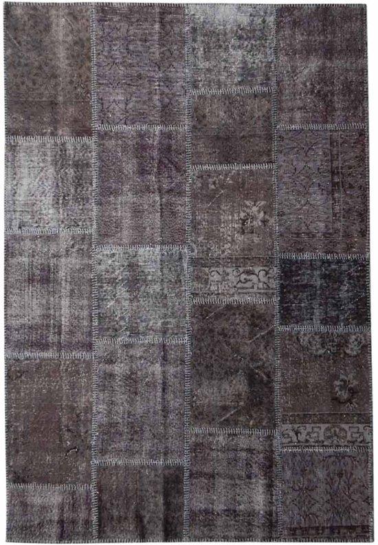 Vintage patchwork vloerkleed antracietgrijs - Afmeting: 240 x 162
