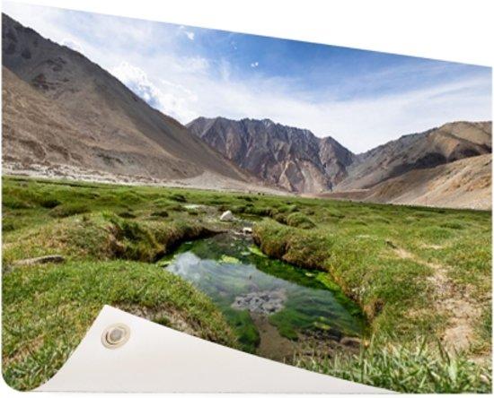Landschap op weg naar de Himalaya Tuinposter 60x40 cm - klein - Tuindoek / Buitencanvas / Schilderijen voor buiten (tuin decoratie)
