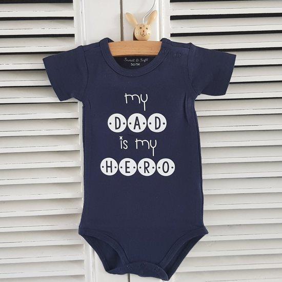 Baby Rompertje Tekst Eerste Vaderdag Cadeau My Dad Is My Hero Lange Mouw Blauw Maat 8692