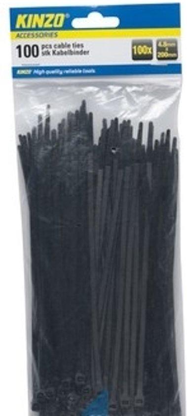 Kinzo Kabelbinders 4.8x200mm zwart 100 stuks