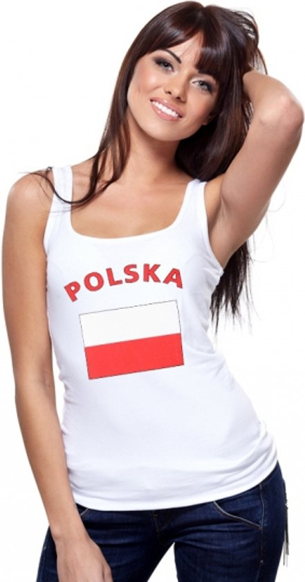 Witte dames tanktop met vlag van Polen L