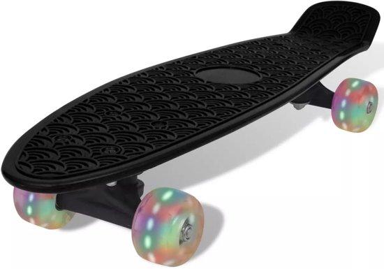 vidaXL Penny board retro met LED-wielen zwart