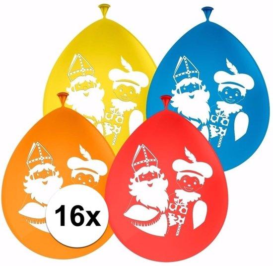 Sinterklaas versiering ballonnen - 16 stuks - Sint en Piet ballonnen