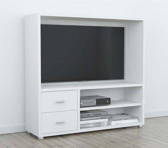 2 Tv Meubel.Bocca Tv Meubel Met Open Ruimte 2 Planken En 2 Lades In Wit