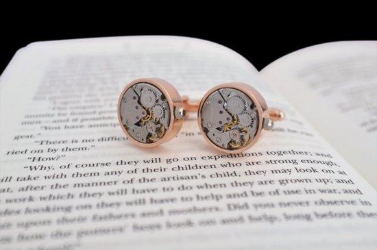 Koperen Horloge Manchetknopenset Rond Steinbaum