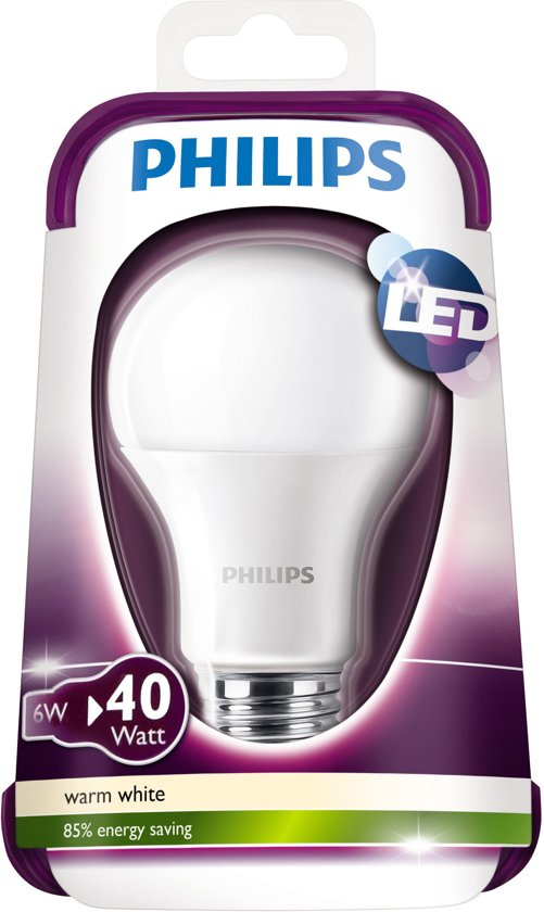 Philips LED E27 6W (40W) warmwit 470lm mat