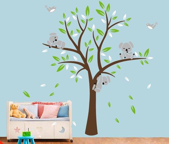 Muurstickers Kinderkamer Belgie.Bol Com Muursticker Boom Met Koala Beertjes En Vogeltjes Xxl