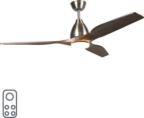 bol.com | QAZQA CF Levant - Plafond ventilator met lamp - Bruin