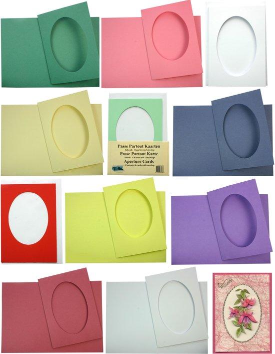 Passe Partout Kaarten.Ovaal Passe Partout Kaarten Set 40 Stuks Met 40 Enveloppen 6 Kleuren Maak Wenskaarten Voor Elke Gelegenheid