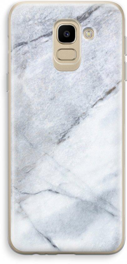 Samsung Galaxy J6 (2018) Transparant Hoesje (Soft) - Witte marmer