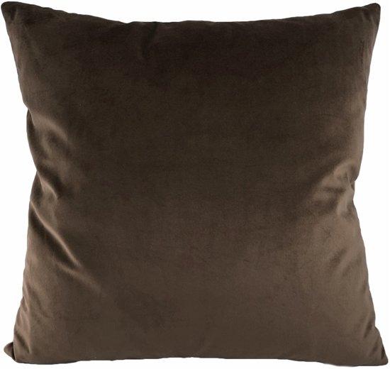 Velvet Dark Brown Kussenhoes | Fluweel - Polyester | 45 x 45 cm | Bruin