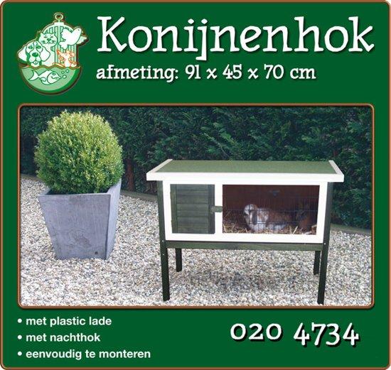 Houten Konijnenhok met Plastic Lade - Groen Wit - 91x45x70 cm