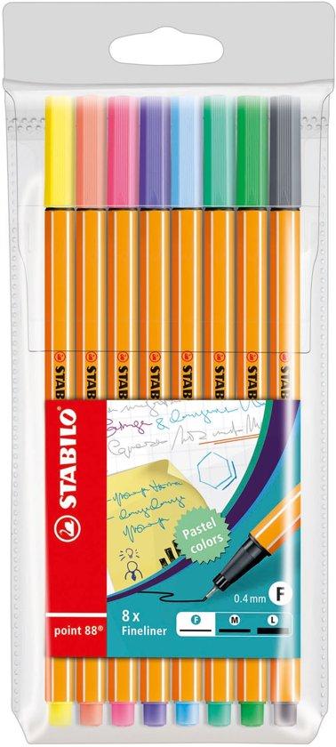 STABILO point 88 Fineliner Pastelkleuren - Etui 8 kleuren