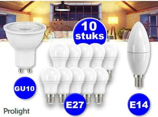 5 Prolight Led Lampen   E27   Warm Wit   3 Watt   175 Lumen