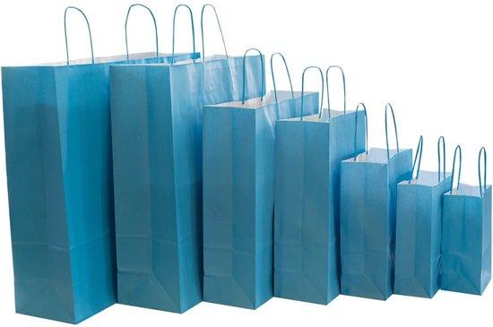 50x Papieren tassen turquoise blauw  Kies hier voor de maat van de tassen: 14x8,5x21,5cm
