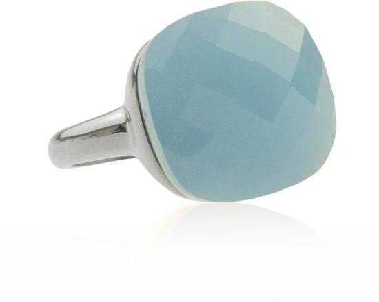 Square Gem Licht Blauw - Zilverkleurig