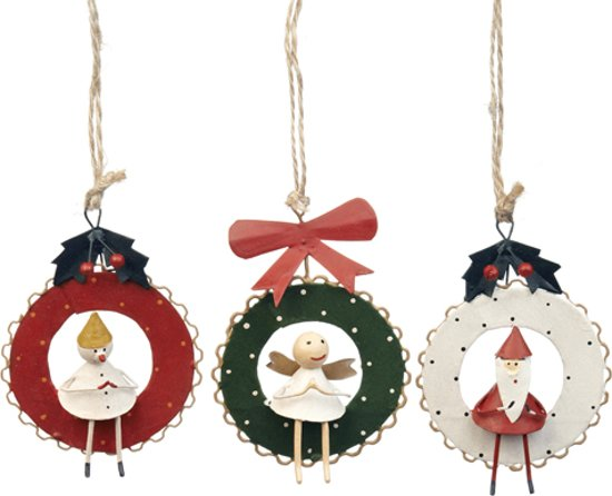 Kerstdecoraties Met Rood : Bol.com goodwill kerstdecoratie kerstkrans metaal klein set van