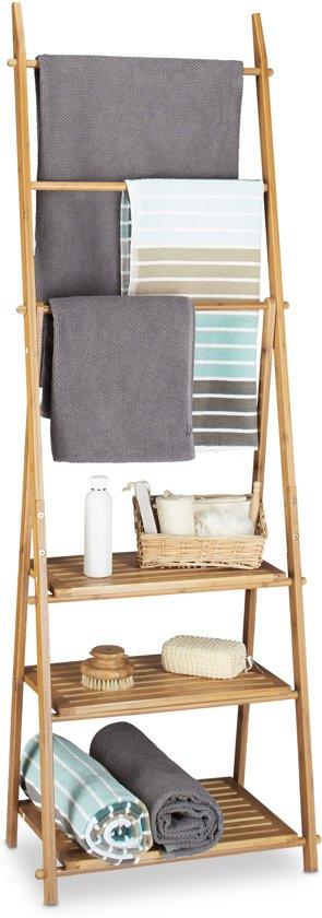 bol.com | Handdoekenrek bamboe opklapbaar, handdoekstandaard ...