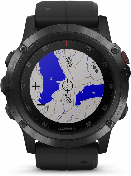 Garmin fenix 5X Plus Saffier - GPS Smartwatch - Zwarte Siliconen Band - Ø 51 mm - Zwart