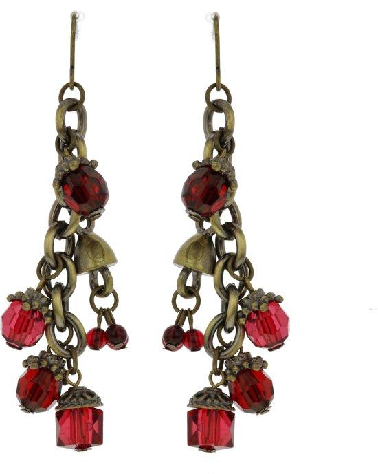 Oorbellen hangers oud goud kleur met rode kraaltjes