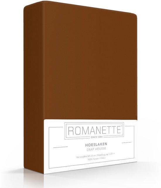 Romanette Hoeslaken Katoen Bruin-160 x 200 cm