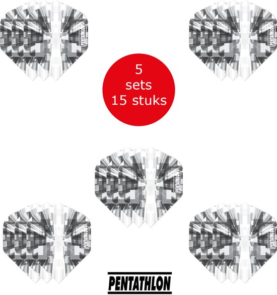 Dragon Darts - 5 sets (15 stuks) Pentathlon Explosion - darts flights - super stevig - zwart - dartflights - dart flights