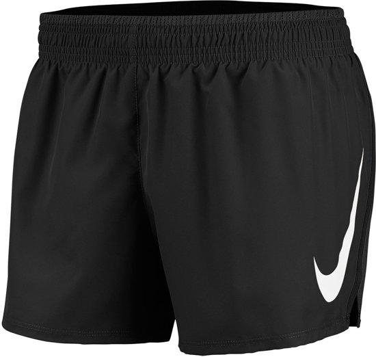 Nike Swoosh Run Short Dames Sportbroek - Black/Black/(White) - Maat S