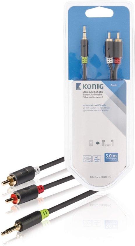 Konig 3,5 mm naar RCA Kabel 5 Meter Grijs