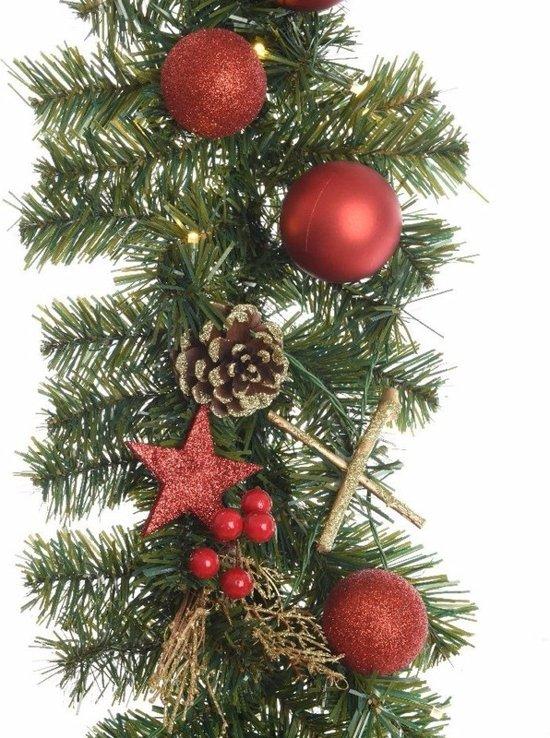 bol.com | Dennen slinger met kerstballen en verlichting rood