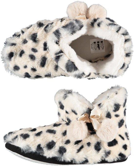 Dieren luipaardprint half hoge sloffen/pantoffels voor dames - Pluche dierensloffen panterprint 37-38