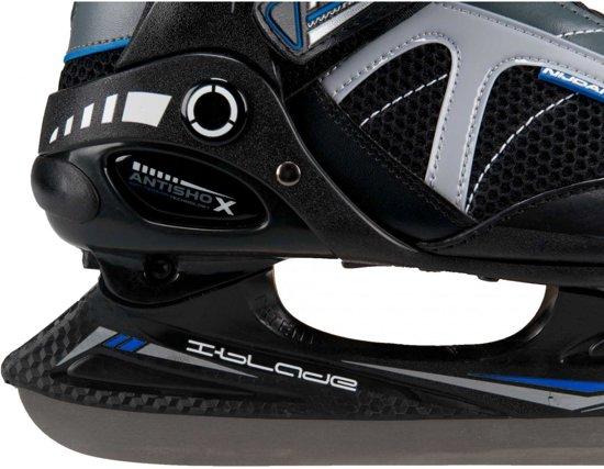 Nijdam Ijshockeyschaats - Semi-Softboot - Grijs/Zwart/Blauw - Maat 38