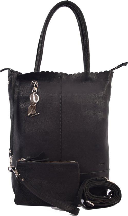 f5ad0795db8 Shopper met sleutelhanger en natuurlijk met GRATIS portemonnee, Leren  Shopper Haifa 4east zwart