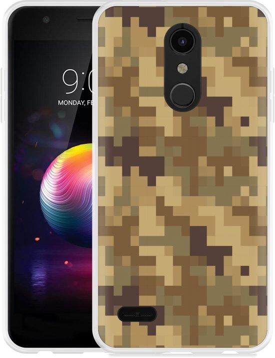 LG K30 Hoesje Pixel Camouflage Brown