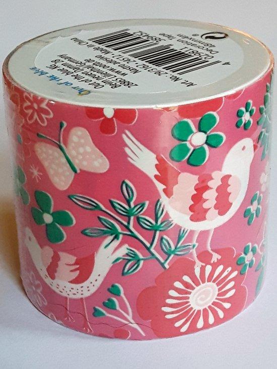 masking tape Roze met Vogels O - decoratie washi papier tape - 48 mm x 4 m