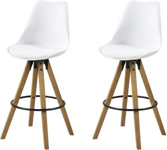 Moderne Witte Barstoelen.24designs Sale Set 2 Barkrukken Dex Zithoogte 75 Cm Witte Zitting Houten Poten