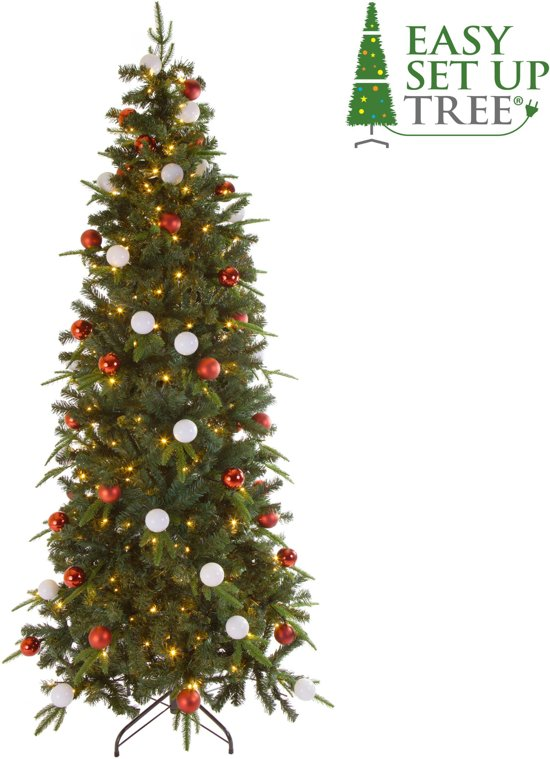 Kerstboom met versiering Easy Set Up Tree® Led Avik Decorated Red 180 cm - Luxe uitvoering - 240 Lampjes Valentinaa