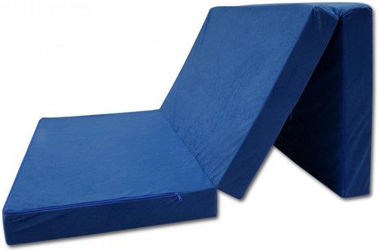 Logeermatras - camping matras - reismatras - opvouwbaar matras - 80 x 200 x 10 - blauw