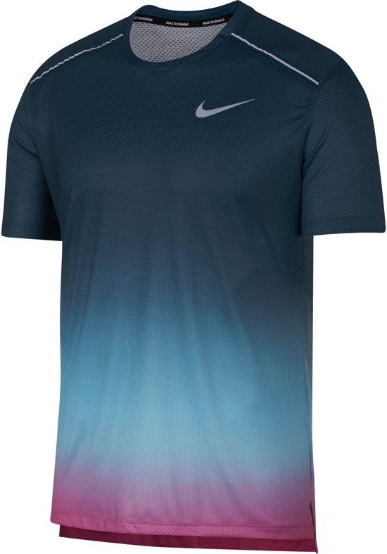 Nike Dry Miler Ss Pr Sportshirt Heren - Blue Gaze/Nightshade/(Reflective Silv) - Maat L