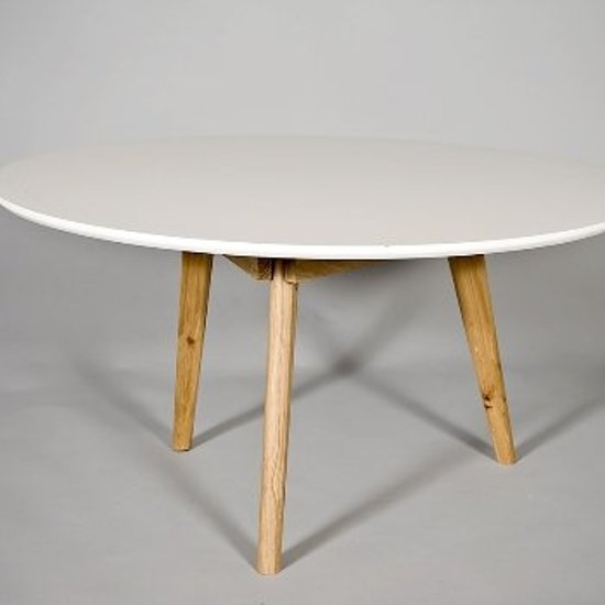 Salontafel radius rond wit hout for Salontafel rond design