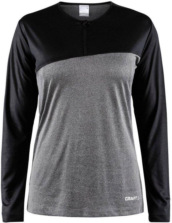Craft Radiate Ls Tee Sportshirt Dames - Dk Grey Melange/Black