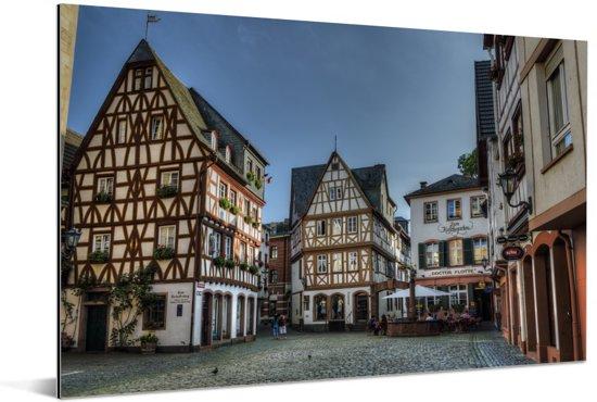 Oude huizen in het Duitse Mainz Aluminium 60x40 cm - Foto print op Aluminium (metaal wanddecoratie)