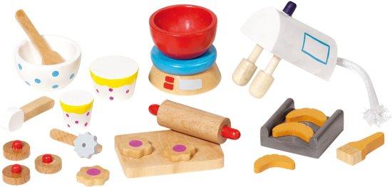 Goki Houten poppenhuis bak accessoires 22-delig