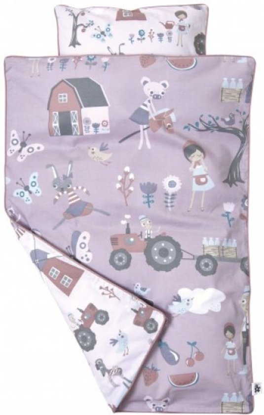 Sebra Village Girl - Wieg bedovertrek en sloop 100x70 cm - Roze