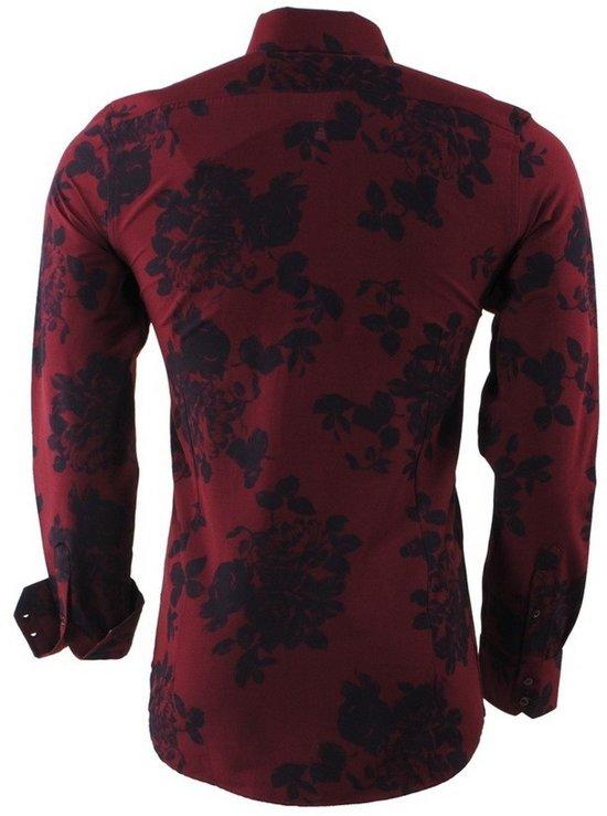 Fit Rood Overhemd Montazinni Heren Bloemen Slim Bordeaux nSnIqHv