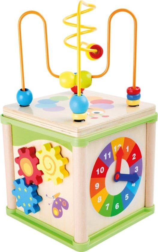 Afbeelding van Kralenspiraal - Insecten activiteitenkubus - multi kleuren - Hout speelgoed vanaf 1 jaar speelgoed